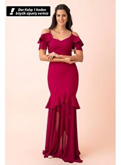 Belamore  Mürdüm Ip Askılı V Yaka Arkası Ip Bağlamalı Abiye & Mezuniyet Elbisesi 1607636.21